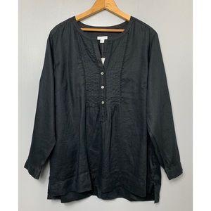 J. JILL NWT Black 100% Linen Love Linen Tunic